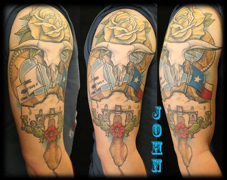 Tattoos - Texas_snake_alamo_rose_tattoobyJohn - 132684