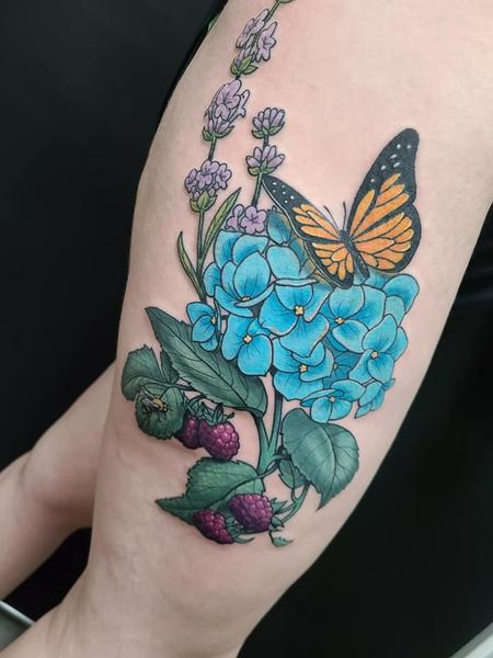 Tattoos - Butterfly and Flowers - 142476