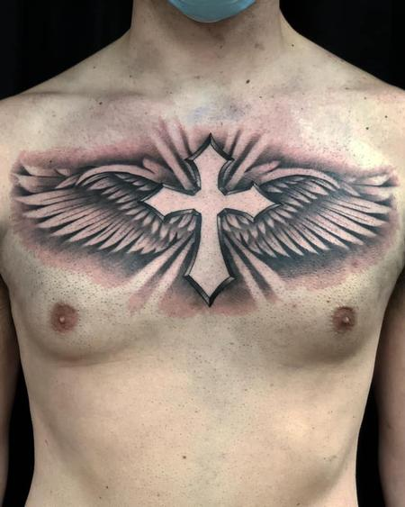 Tattoos - Cross and Wings - 142479