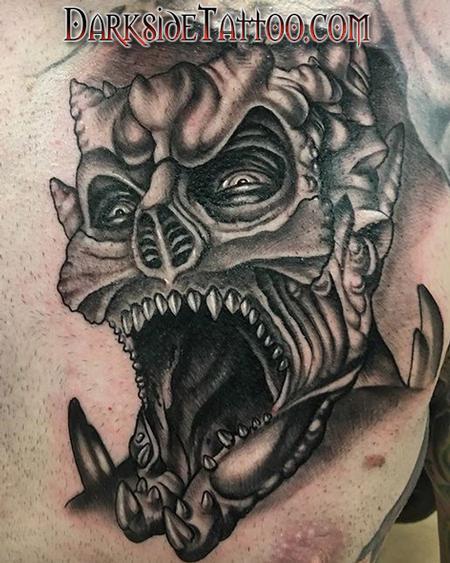 Tattoos - Black and Gray Demon Tattoo - 133934