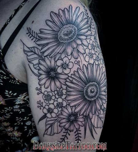 Marissa Falanga - Black and Gray Flowers Tattoo
