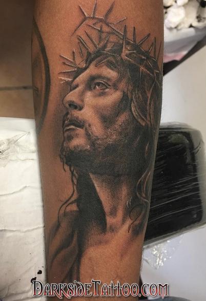 Tattoos - Black and Gray Jesus Tattoo - 130053