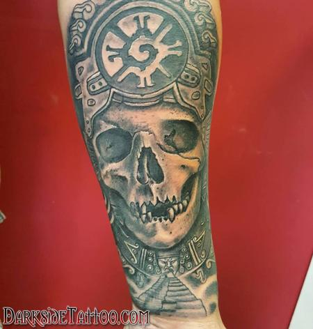 Tattoos - Black and Gray Mayan Witchdoctor Tattoo - 130045