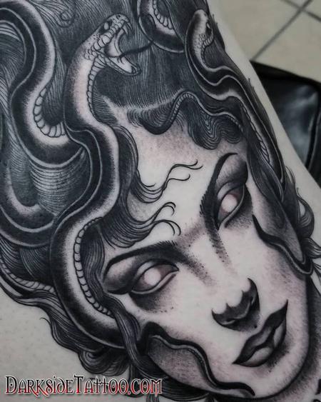 Marissa Falanga - Black and Gray Medusa Tattoo