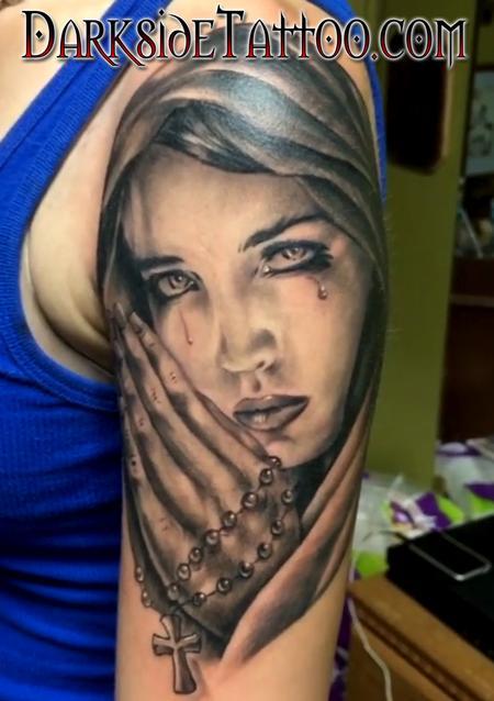 Tattoos - Black and Gray Praying Angel Tattoo - 120348