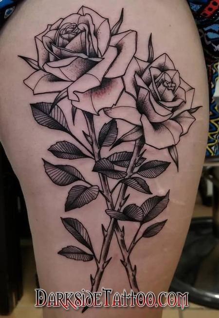 Tattoos - Black and Gray Roses Tattoo - 133940