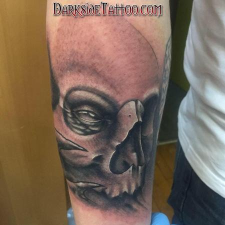 Tattoos - Black and Gray Skull Tattoo - 132128