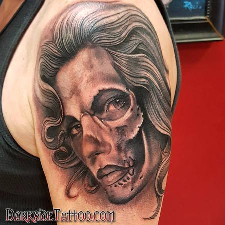 Dave Racci - Black and Gray Skull Face Tattoo