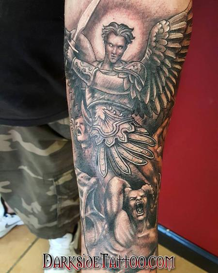 Tattoos - Black and Gray St. Michael Tattoo - 130040