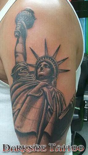 Dave Racci - Black and Gray Statue of Liberty Tattoo