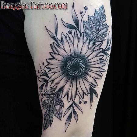 Tattoos - Black and Gray Sunflower Tattoo - 130042