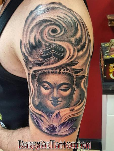 Tattoos - Black and Gray Buddha Tattoo - 130056