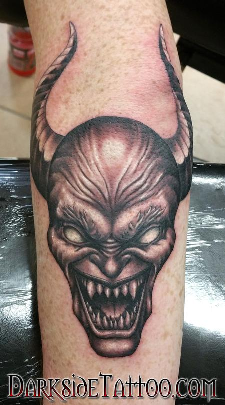 Tattoos - Black and Gray Satan Tattoo - 114085