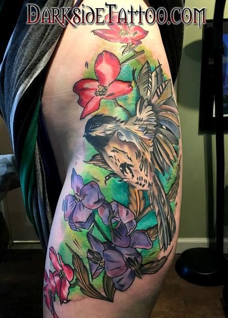 Matthew Kiley - Color Watercolor Bird and Flowers