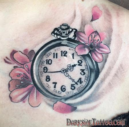 Tattoos - Color Clock and Cherry Blossom Tattoo - 130046