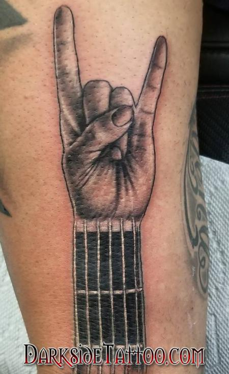 Dave Racci - Black and Gray Devil Hand Tattoo