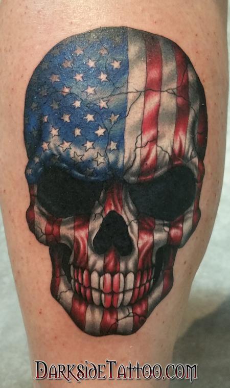 Tattoos - Color American Flag Skull - 109894