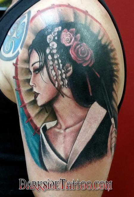 Tattoos - Color Geisha Girl Tattoo - 98938