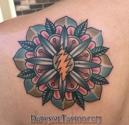 Tattoos - Color Grateful Dead Mandala Tattoo - 130039