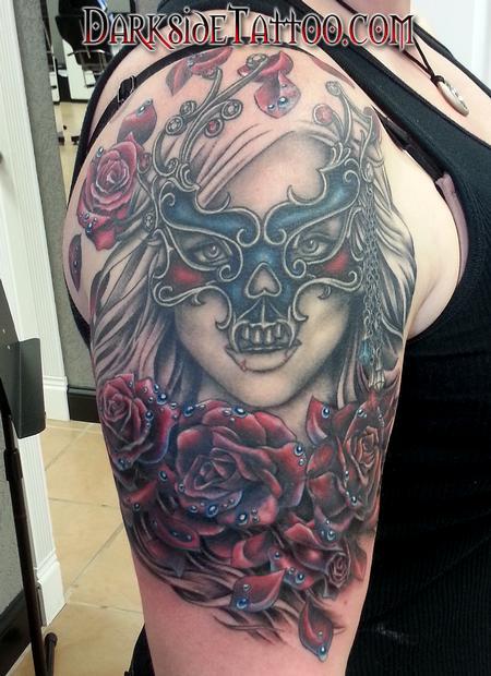 Sean O'Hara - Color Roses and Mask Tattoo