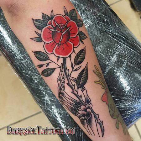 Tattoos - Traditional Rose and Skeleton Hand - 130037