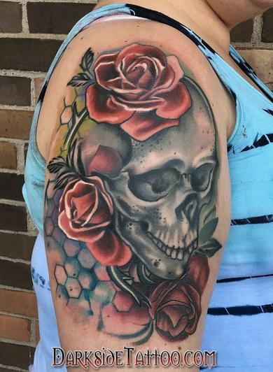 Daniel Adamczyk - Color Skull and Roses Tattoo