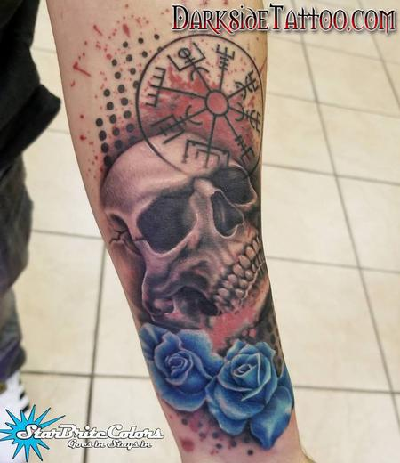 Tattoos - Color Trash Polka Skull Tattoo - 130044