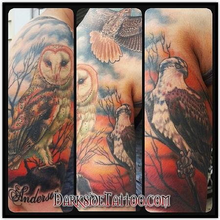 Tattoos - Color Birds Scene Tattoo - 89096