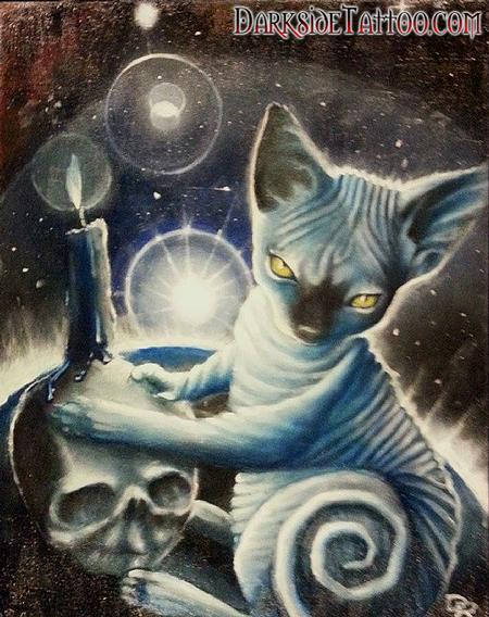 Dave Racci - Color oil painting of Daves Cat Anubis