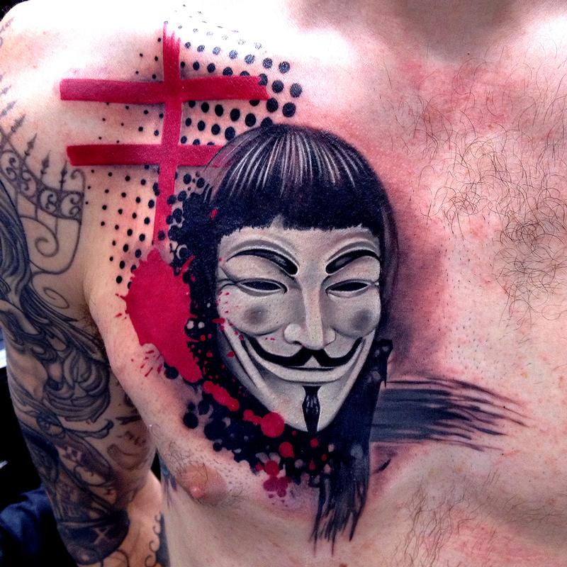Trash Polka Style V For Vendetta Tattoo Guy Fawkes Mask By David