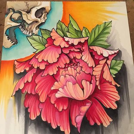 David Mushaney - Skull and Peony Copic Marker Drawing