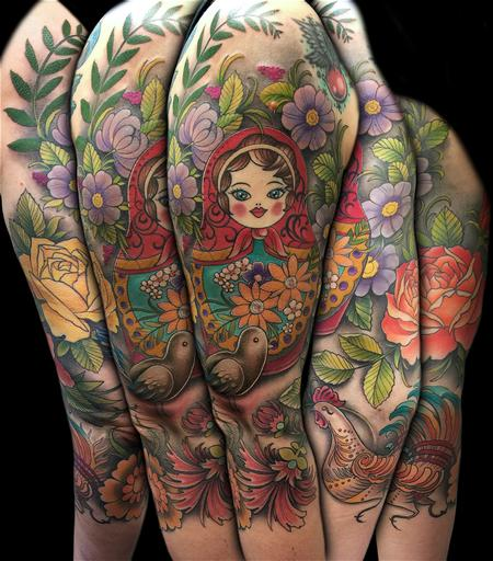 Tattoos - Colorful Russian Folk Art 3/4 Sleeve - 101682