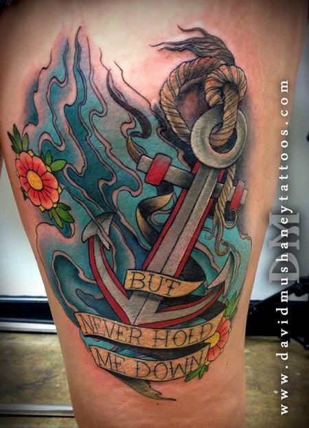 Tattoos - Colorful Anchor Thigh Tattoo - 91156
