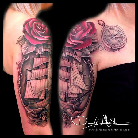 Tattoos - Ship and Rose Half-Sleeve Tattoo - 84305