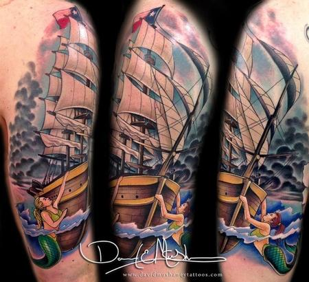 Tattoos - Ship with Mermaids and Stormy Sky - 84335