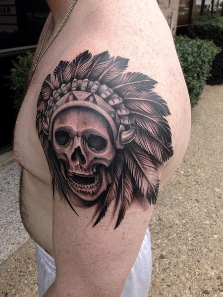 Tattoos - Black and Grey Skull and Headdress Tattoo - 91951