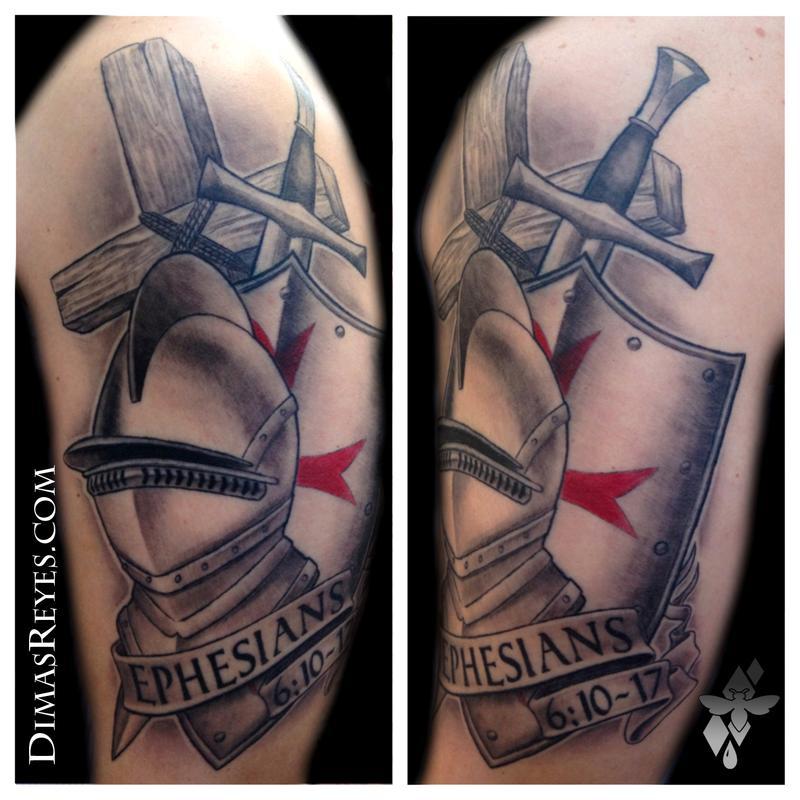 Black And Grey Armor Of God Tattoo By Dimas Reyes Tattoonow