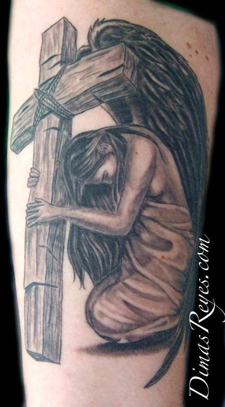 Dimas Reyes - Black and Grey Angel with Cross Tattoo