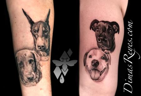 Tattoos - Black and Grey Realistic Dog Portraits - 142138