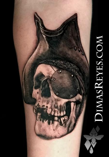Tattoos - Black and Grey Realistic Pirate Skull Tattoo - 142139