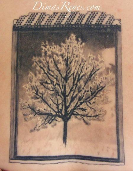 Dimas Reyes - Black and Grey Tree Polaroid Tattoo