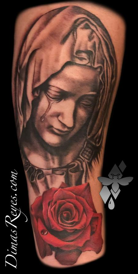 Tattoos - Black and Grey Virgin Mary with Rose tattoo - 138863