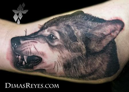 Tattoos - Black and grey Wolf tattoo - 138862