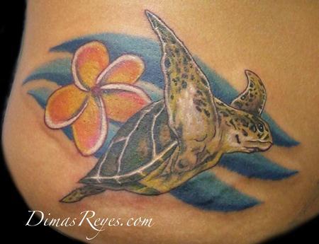 Dimas Reyes - Realistic Turtle with Plumeria Tattoo