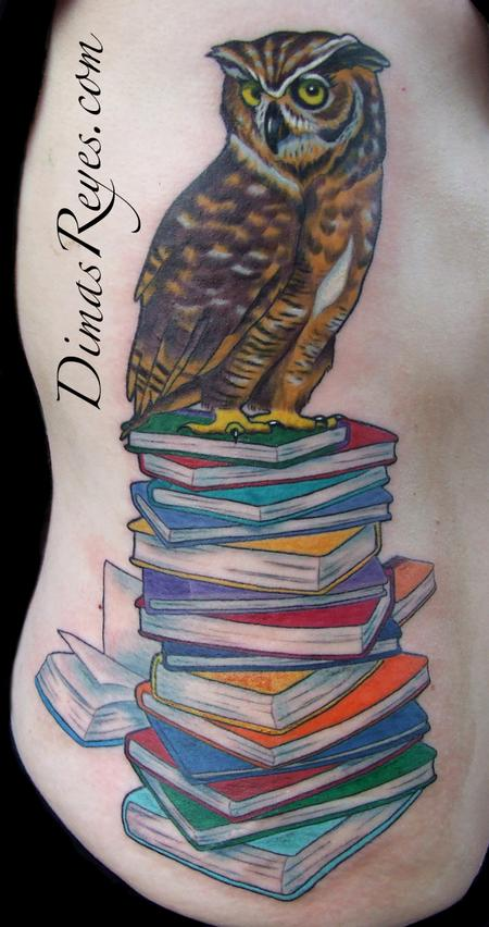 Dimas Reyes - Color Wise Owl on Books tattoo