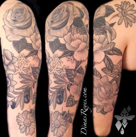 Tattoos - Black and Grey Flowers Tattoo - 119320