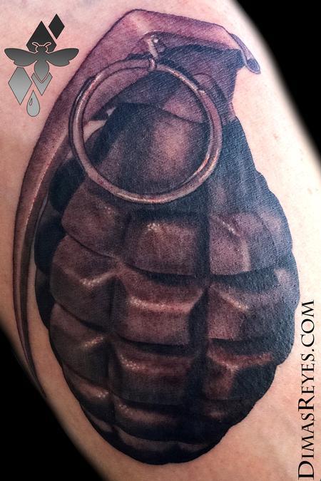 Dimas Reyes - Black and Grey Grenade Tattoo