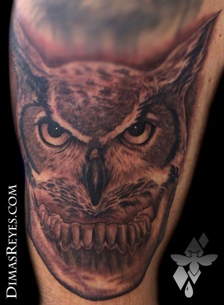 Dimas Reyes - Black and Grey Horned Owl Jawbone Tattoo