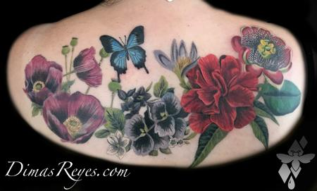 Tattoos - Realistic Color Butterfly and Flowers Tattoo - 138947