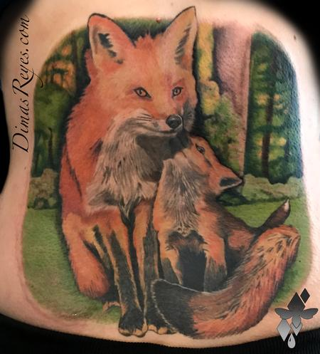 Tattoos - Realistic Color Foxes Tattoo - 138944